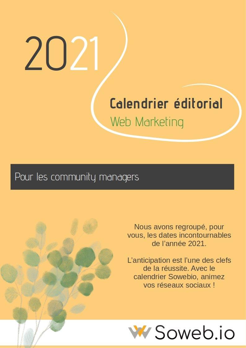 calendrier éditorial 2021